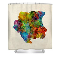 Suriname Watercolor Map Shower Curtain