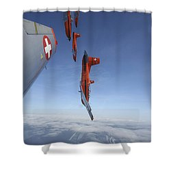 Swiss Air Force Display Team, Pc-7 Shower Curtain by Daniel Karlsson