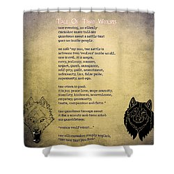 Shower Curtain featuring the painting Tale Of Two Wolves - Art Of Stories by Celestial Images