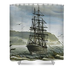 Shower Curtain featuring the painting Tall Ship Cove by James Williamson