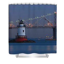 Tarrytown Lighthouse And Tappan Zee Bridge At Twilight Shower Curtain by Clarence Holmes