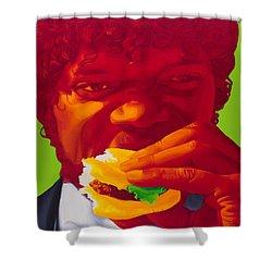 Tasty Burger Shower Curtain by Ellen Patton