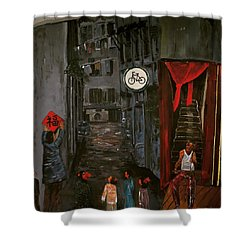 The Backlane Shower Curtain by Belinda Low