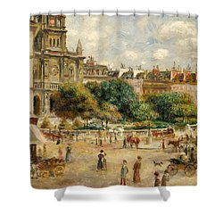 The Banks Of The Seine At Bougival Shower Curtain by Pierre Auguste Renoir