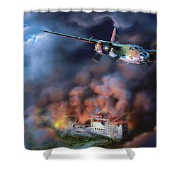 The Battle Of Monte Cassino Shower Curtain by Dave Luebbert