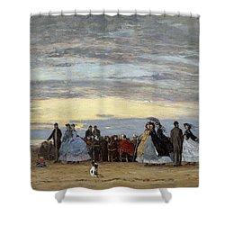 The Beach At Villerville Shower Curtain