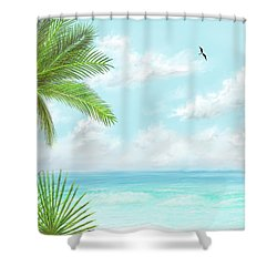 Shower Curtain featuring the digital art The Beach by Darren Cannell