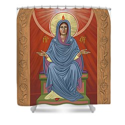 Shower Curtain featuring the painting The Blessed Virgin Mary Mother Of The Church by William Hart McNichols