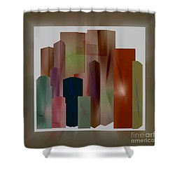 Shower Curtain featuring the digital art The Block by John Krakora