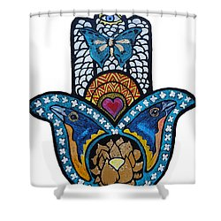 The Blue Bunting Hamsa Shower Curtain