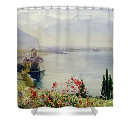 The Castle At Chillon Shower Curtain by John William Inchbold