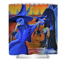 The Cat And The Witch Shower Curtain by Christophe Ennis
