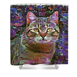The Cat Who Loved Flowers 2 Shower Curtain