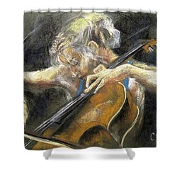 Shower Curtain featuring the painting The Cellist by Debora Cardaci