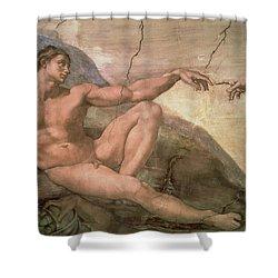 The Creation Of Adam Shower Curtain by Michelangelo Buonarroti