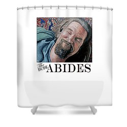 Shower Curtain featuring the painting The Dude Abides by Tom Roderick