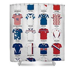 The Evolution Of The Us World Cup Soccer Jersey Shower Curtain by Taylan Apukovska