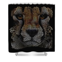 The Face Of A Cheetah Shower Curtain by ISAW Gallery