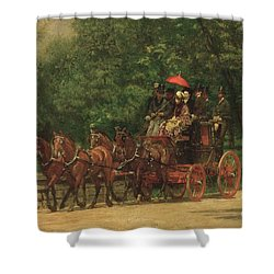 The Fairman Rogers Coach And Four Shower Curtain by Thomas Cowperthwait Eakins