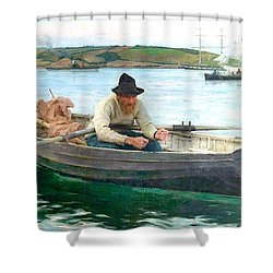 Shower Curtain featuring the painting The Fisherman by Henry Scott Tuke