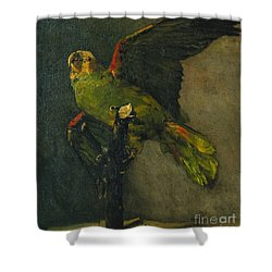 The Green Parrot Shower Curtain