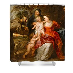 Shower Curtain featuring the painting The Holy Family With Saints Francis And Anne And The Infant Saint John The Baptist by Peter Paul Rubens