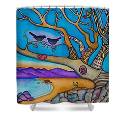 Shower Curtain featuring the painting The Kiss And Love Is All There Is by Lori Miller