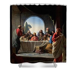 Shower Curtain featuring the painting The Last Supper by Carl Bloch