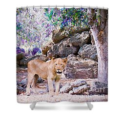 Shower Curtain featuring the painting The Lions by Judy Kay