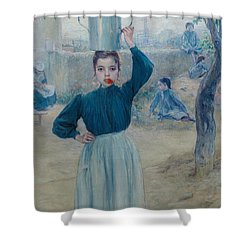 The Little Village Girl With Red Carnation Shower Curtain