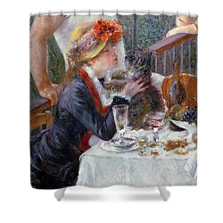 The Luncheon Of The Boating Party Shower Curtain by Pierre Auguste Renoir