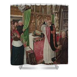 The Mass Of Saint Giles Shower Curtain by Master of Saint Giles