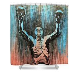Shower Curtain featuring the painting The Overcomer by Nathan Rhoads