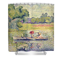 The Promenade In The Bois De Boulogne Shower Curtain by Henri-Edmond Cross