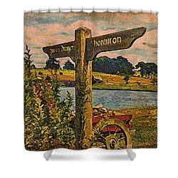 Shower Curtain featuring the digital art The Road To Hobbiton by Kathy Kelly