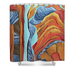 Shower Curtain featuring the painting The Rocks Cried Out, Zion by Erin Fickert-Rowland
