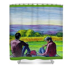 Shower Curtain featuring the painting The View by Ron Richard Baviello