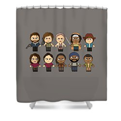 The Walking Dead  Main Characters Chibi  Amc Walking Dead  Manga Dead Shower Curtain