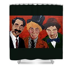Three's Comedy Shower Curtain