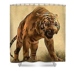 Tiger Shower Curtain by Sergey Lukashin