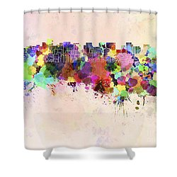 Tokyo Skyline In Watercolor Background Shower Curtain