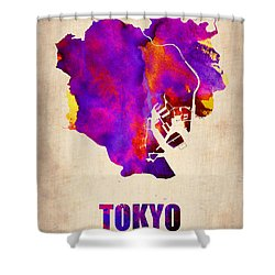 Tokyo Watercolor Map 2 Shower Curtain by Naxart Studio
