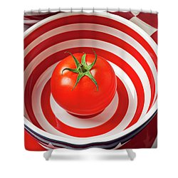 Tomato In Red And White Bowl Shower Curtain