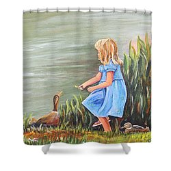 Shower Curtain featuring the painting Tori And Her Ducks by Patricia Piffath