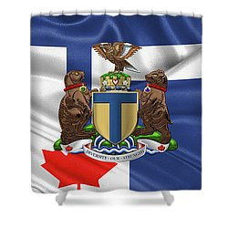 Toronto - Coat Of Arms Over City Of Toronto Flag  Shower Curtain