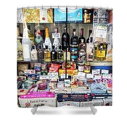 Traditional Spanish Deli Food Shop Display In Santiago De Compos Shower Curtain