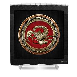 Treasure Trove - Sacred Golden Scorpion On Black Shower Curtain