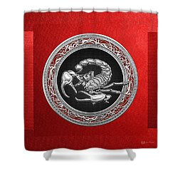 Treasure Trove - Sacred Silver Scorpion On Red Shower Curtain