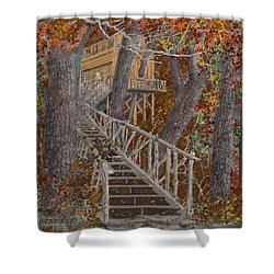 Shower Curtain featuring the drawing Tree House #1  by Jim Hubbard