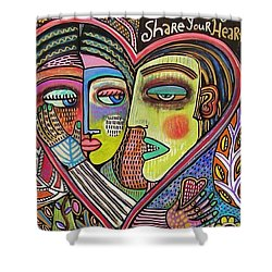 Tree Of Life Heart Lovers Shower Curtain by Sandra Silberzweig